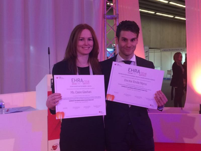 Emile Nyns and Claire Glashan win Young Investigator Award at EHRA 2018 and ESC press release about Emile's work